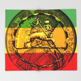 Lion of Judah Haile Selassie King of Kings Throw Blanket