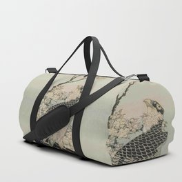 Hokusai -falcon next to a plum tree in bloom - 葛飾 北斎,hawk,bird. Duffle Bag