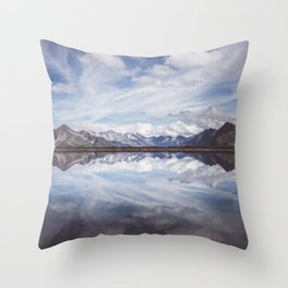 Mountain Lake Reflection - Landscape and Nature Photography Throw Pillow