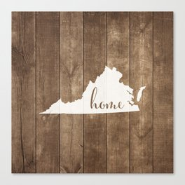 Virginia is Home - White on Wood Canvas Print