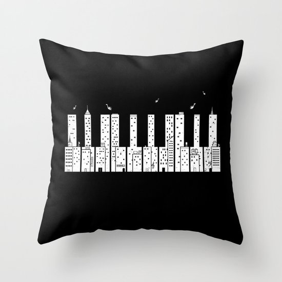 Piano Skyline Throw Pillow