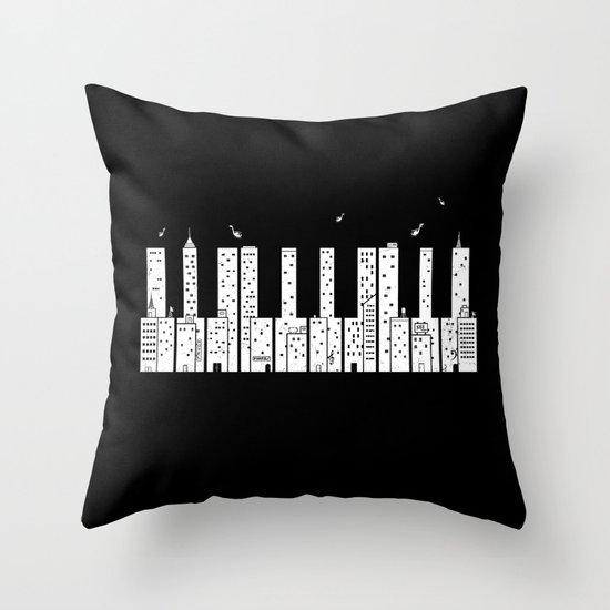 Piano Skyline Throw Pillow