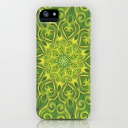 Green and Yellow center Swirl Pattern iPhone Case