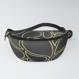 BLACK AND GOLD DROPS MARBLE Fanny Pack