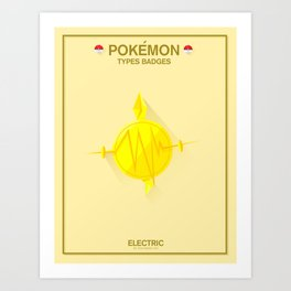 Pokémon Types Badges: Electric Type Art Print