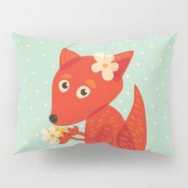 Cute Fox And Flowers Pillow Sham