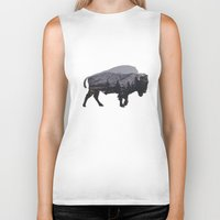 running Biker Tanks featuring The American Bison by Davies Babies