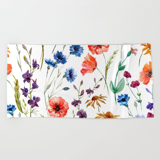 Floral Madness Beach Towel