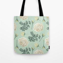 Rose Pattern Cream + Mint Green Tote Bag