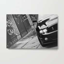 2012 Shelby GT-500 front black and White Metal Print