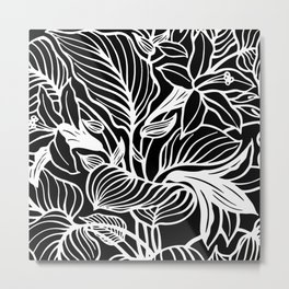Black And White Floral Minimalist Metal Print
