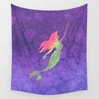 ariel Wall Tapestries featuring Ariel  by foreverwars