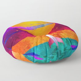 Colorful Outer Space Spaceship Floor Pillow