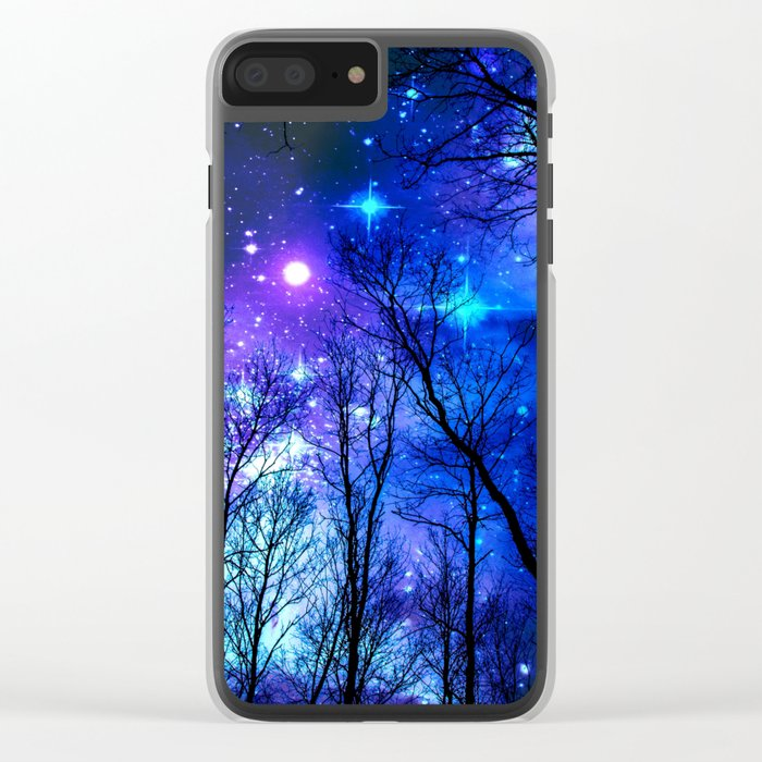 black trees purple blue space Clear iPhone Case