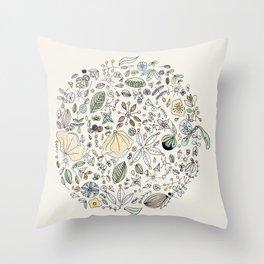 Circulo de flores Throw Pillow