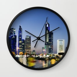 Kuwait City Skyline blur Wall Clock