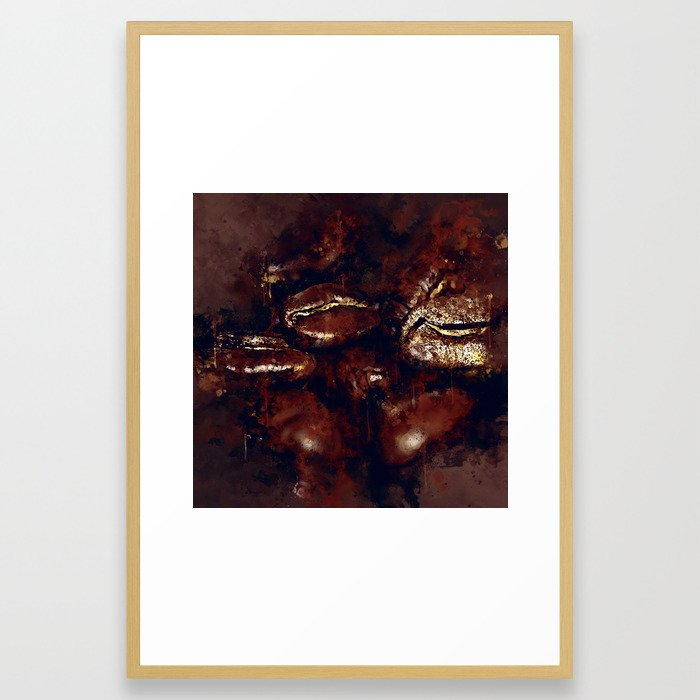 big coffee beans splatter watercolor Framed Art Print