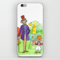 willy wonka iPhone & iPod Skins featuring Pure Imagination: Willy Wonka & Oompa Loompa by Michael Richey White by lost robot