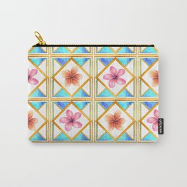 Pretty Geomtric Floral Print Carry-All Pouch