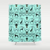 greyhound Shower Curtains featuring Deco Greyhound by naturessol