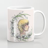 enjolras Mugs featuring Enjolras and lilies by MonsterFromTheLAke