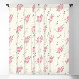 Pink big flower and floral composition seamless pattern Blackout Curtain