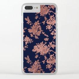 Modern elegant navy blue faux rose gold floral Clear iPhone Case
