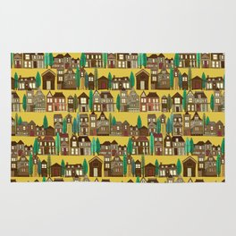 wooden buildings yellow gold Rug