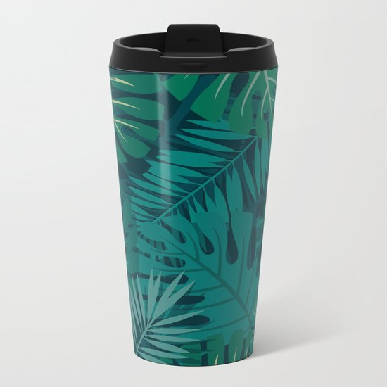 Dark Tropical Leaves Metal Travel Mug
