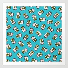 Lucky Cat Pattern Art Print