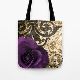 Purple Rose & Vintage Damask Tote Bag