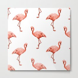 Simply Pink Flamingo in Deep Coral on White Metal Print