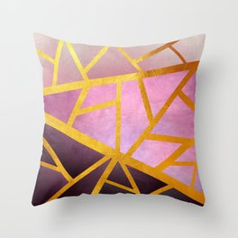 Textured Pink Geometric Gradient With Gold Throw Pillow