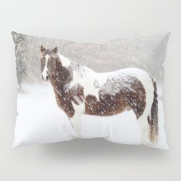 Pinto Horse In Snow Pillow Sham