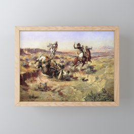 """""""The Broken Rope"""" by Charles M Russell Framed Mini Art Print"""