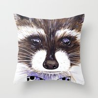 raccoon Throw Pillows featuring Raccoon by Iskoskikh Sveta