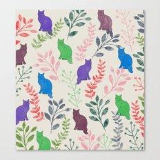 Watercolor Floral and Cat IX Canvas Print