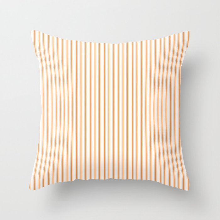 Bright Orange Russet Mattress Ticking Narrow Striped Pattern - Fall Fashion 2018 Throw Pillow