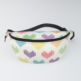 Colorful Knitted Hearts II Fanny Pack