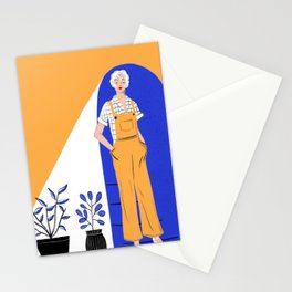 Lady with plants Stationery Cards