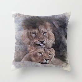 Lions in Love Throw Pillow