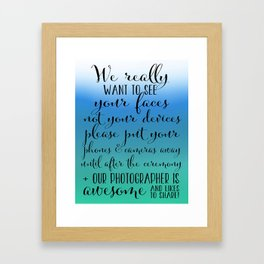 Wedding Photograpy 4 - Blue and Green Framed Art Print