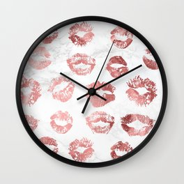 Fashion Lips Rose Gold Lipstick on Marble Wall Clock