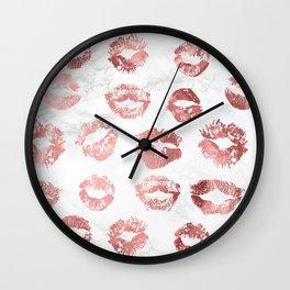 Fashion Lips Rose Gold Lipstick on Marble Wall Clock