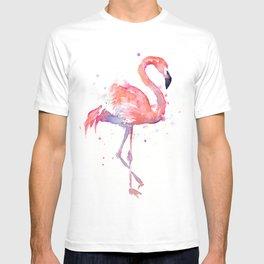 Pink Flamingo Watercolor | Tropical Animals Bird Flamingos T-shirt