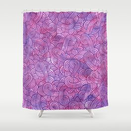 Neon pink and purple swirls doodles Shower Curtain