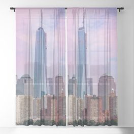 Painting of a very Dramatic Sunset over the NYC Financial District, seen from the Water Sheer Curtain