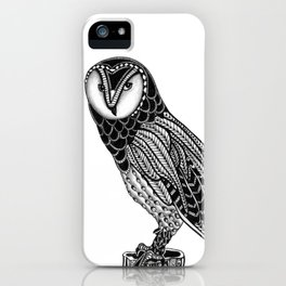 Tangled Barn Owl on White iPhone Case