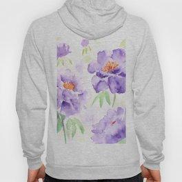 Watercolor Blue Peony flowers Hoody