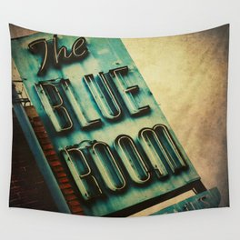 Blue Room Neon Sign Wall Tapestry